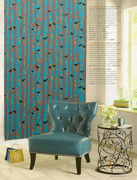 GrandinRoad WallArt Concept_with Casart Bold Birds & Birch Teal removable wallpaper