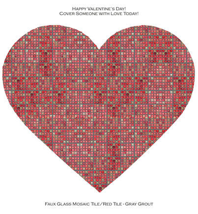 Casart Faux Glass Mosaic Tile reusable wallcovering as a Heart for Valentine's Day
