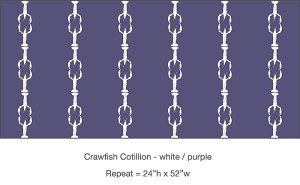Casart coverings purple white Crawfish Cotillion temporary wallpaper on Slipcovers for your walls, casartblog