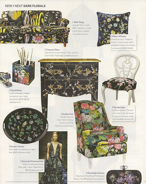 Dark florals in Traditional Home May 2015 on casartblog