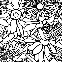 Casart Flower Power - Black & White Outlines detail on Slipcovers for your walls, casartblog