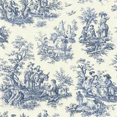 18th c toile print scene via Blue Monday on casartblog