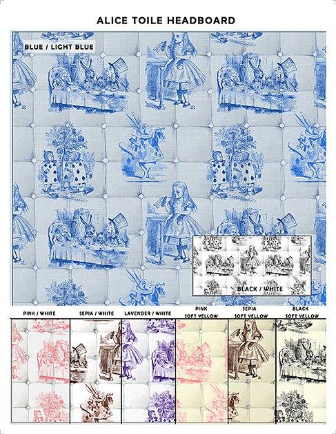 Casart coverings Alice in Wonderland Toile Headboard Sample_casartblog