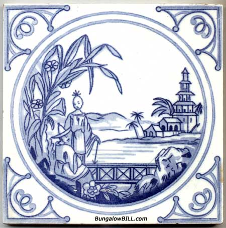 Pseudo Delft Chinese-style Tile made by English Minton China Works via antiques.com on casartblog