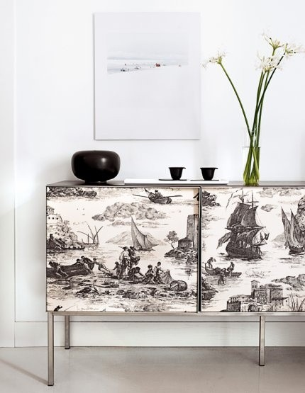 toile cabinet front on Slipcovers for your walls, casartblog