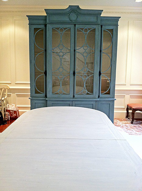 Armoire after Seafoam Chalk Paint & Aged Glaze + Pickled Dining Room Table on Slipcovers for your walls casartblog