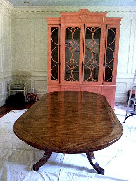Persimmon armoire and Unpainted table before on Slipcovers for your walls, casartblog