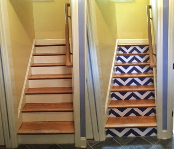 Casart customer Stairs Before & After Libby Langdon Chic Chevron Casart wallcovering