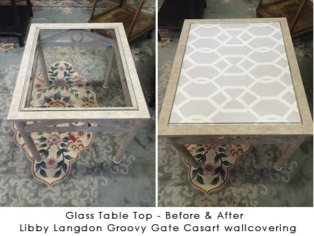 Glass-Table-Before & After LL Groovy Gate Casart wallcovering