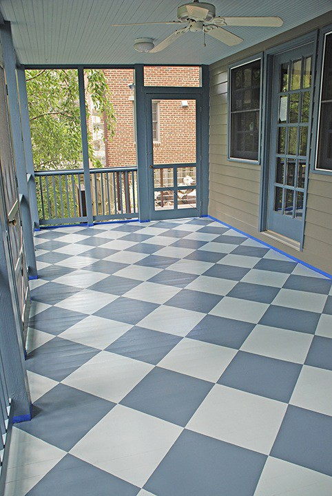 Porch Floor After - with painted harlequin pattern on Slipcovers for your walls, casartblog