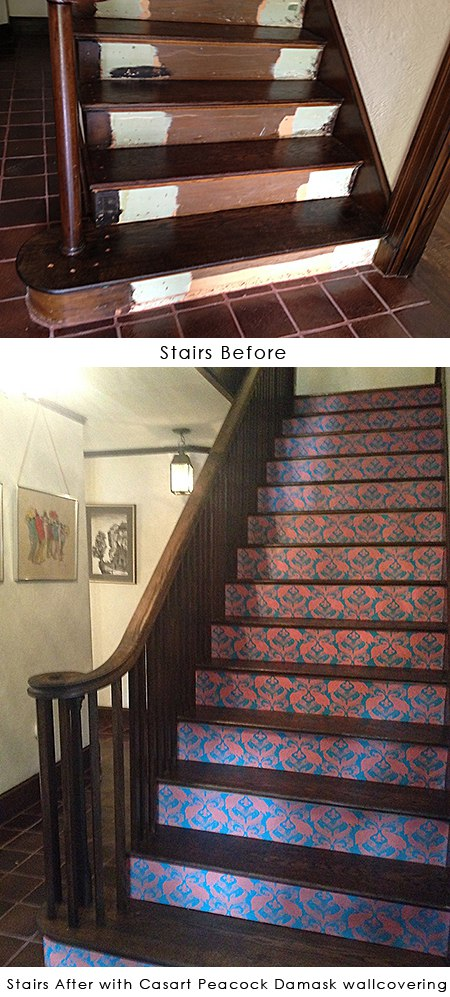 Stair Risers before and after with Casart Peacock Damask wallcovering on Slipcovers for your walls, casartblog