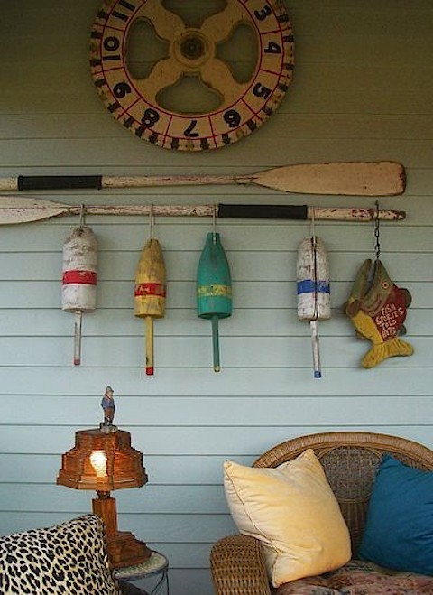 Cute-display-of-Old-buoys-Oars-Beach, Slipcovers for your walls, casartblog
