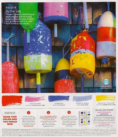 Buoy colors via House Beautiful on Slipcovers for your walls, casartblog