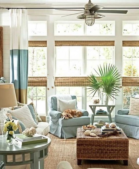 Coastal Inspired Living Room via Messagenote on Slipcovers for your walls, casartblog