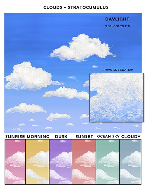 Casart coverings Stratocumulus Cloud Sample temporary wallpaper_casartblog