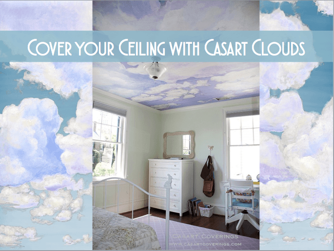Casart coverings Clouds temporary wallpaper on Slipcovers for your walls, casartblog