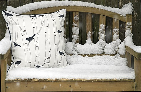 1_Casart Decor Birds Birch All weather pillow cover_winter on Slipcovers for your walls, casartblog