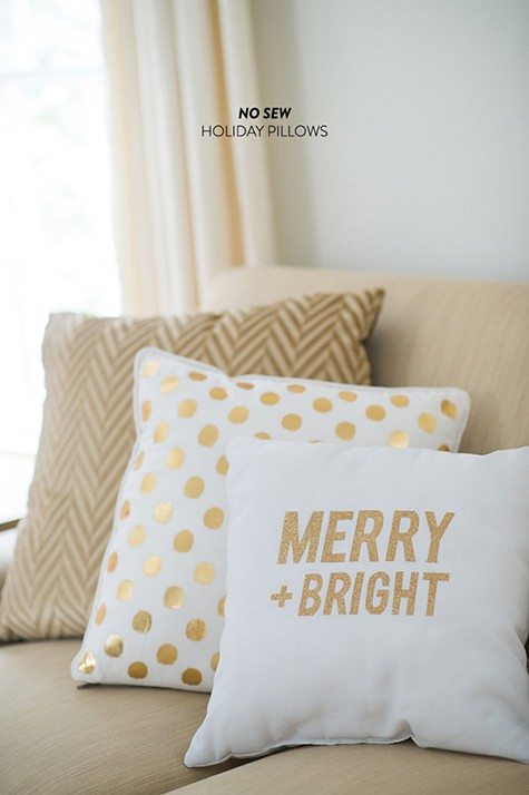 2_No Sew Pillows via StyleMePretty on Slipcovers for your walls, casartblog