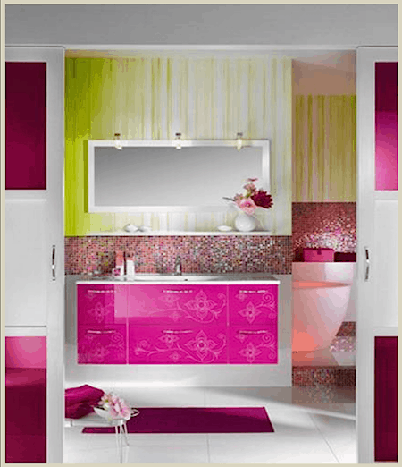 Casart coverings features Debrae Little Interior Design_pink mosaic glass tile on Slipcovers for your walls, casartblog