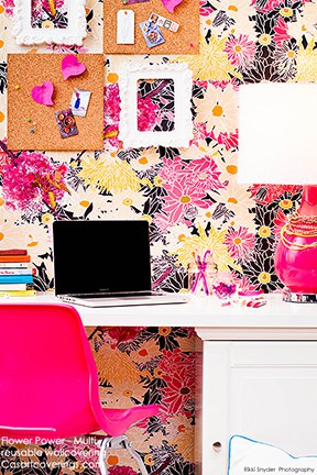 Casart coverings Flower Power with Teenager-desk room view on Slipcovers for your walls casartblog
