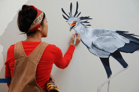 Jane adding details Secretary Bird_casartblog