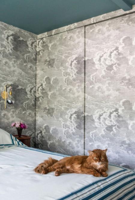 Casart covering, cloud, temporary wallpaper, vivi interiors, rachel dougan, living the cloud, bedroom,
