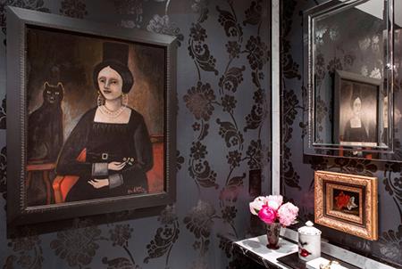 Casart covering, flowers, black and white, temporary wallpaper, vivi interiors, rachel dougan, flower power, bathroom,