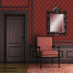 Casart Coverings Red Harlequin temporary wallpaper Formal Room