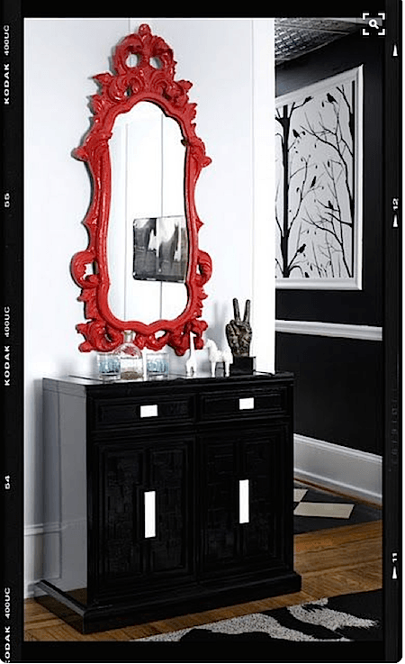 Red painted mirror_casartblog