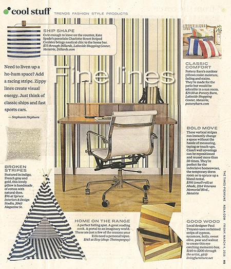 Casart coverings Stripe Pattern temporary wallpaper featured in Times Picayune_casartblog