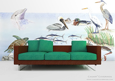 Casart Coverings Gulf Coast Mural temporary wallpaper Room View_casartblog