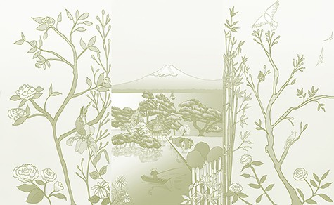 Casart_Chinoiserie-Japan Mural Celadon Gradient Combo_removable wallpaper