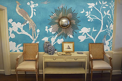 Casart coverings Chinoiserie Mural Panels Asia blue colorway temporary wallpaper room view