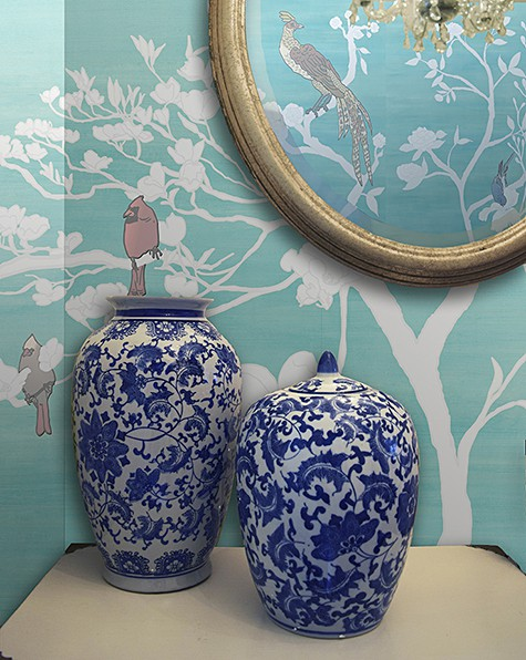 Casart Coverings Teal Raw Silk Chinoiserie_temporary wallpaper