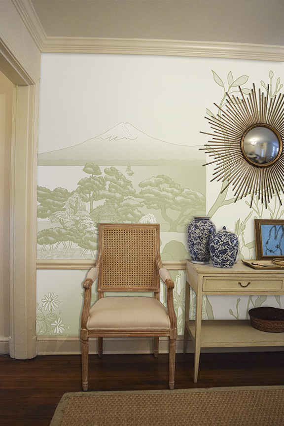 Casart coverings Japan Celadon and Chinoiserie Mural Panel 5 temporary wallpaper in a room view