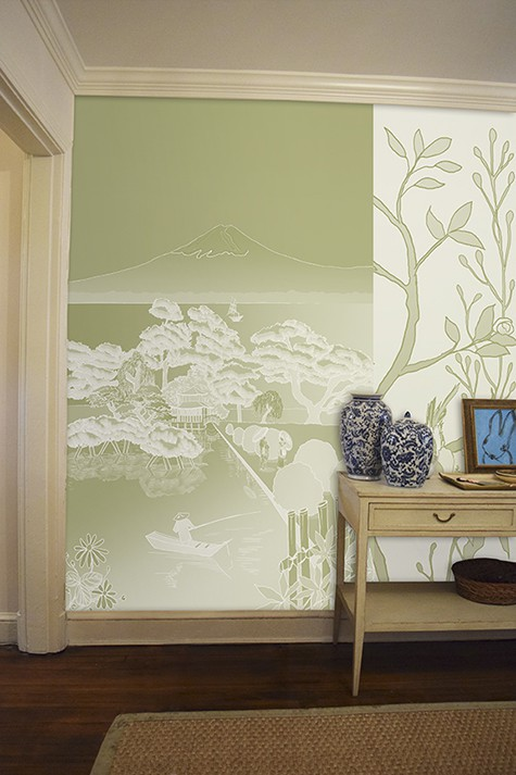 Casart coverings Japan Reverse Celadon with Chinoiserie Panel 5 temporary wallpaper room view