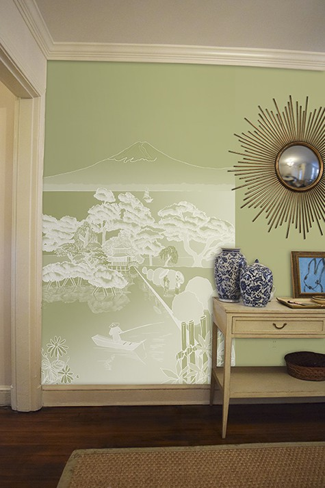 Casart coverings Japan Reverse Celadon Mural Panel temporary wallpaper on same colored wall room view