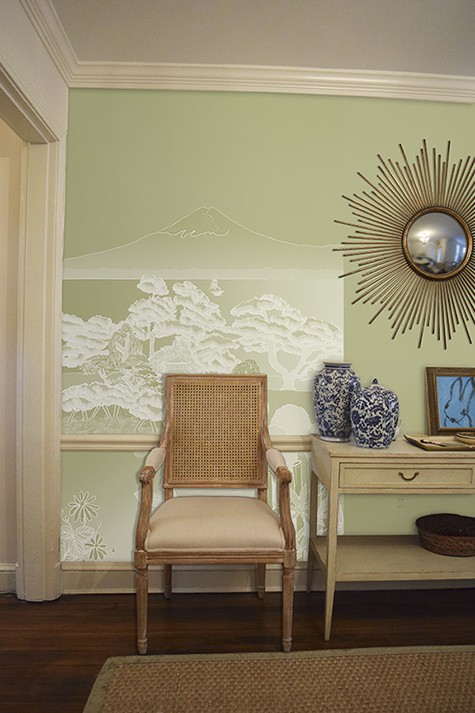 Casart coverings Japan Reverse Celadon Mural Panel temporary wallpaper on same colored wall room view2