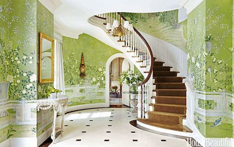 Foryer of 1930s Georgian-style house in Locust Valley New York accentuated with de Gournay scenic chenoiserie wallpaper by Christopher Maya