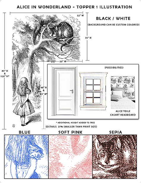Casart Coverings Sample for Alice in Wonderland Illustrated Door and Window Topper removable wallpaper_casartblog