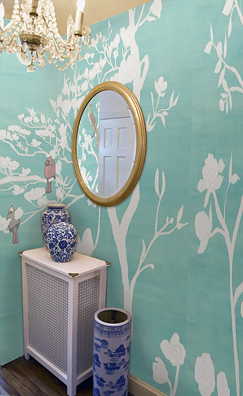 Casart Coverings Teal Raw Silk Chinoiserie_temporary, removable wallpaper mural panels_casartblog
