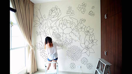 Drawing on wall via dreamingclouds_casartblog