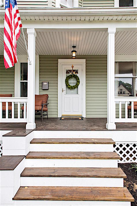 Painted front porch with American Flag casartblog