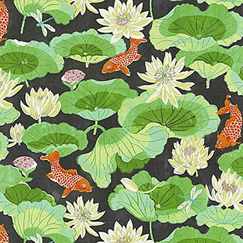 Waverly Lotus Lake Ebony Fabric Pattern_casartblog