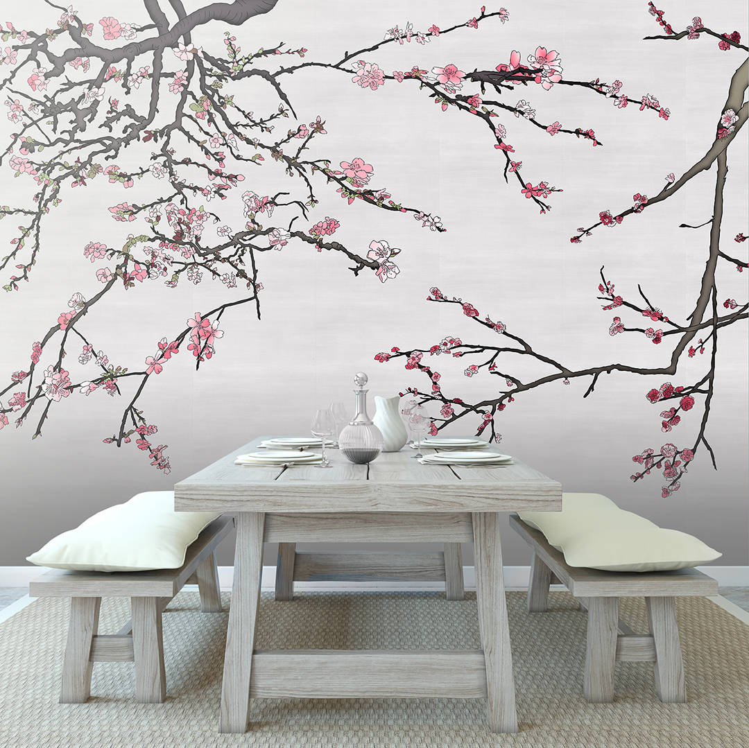 Casart Coverings Asia Blossom temporary wallpaper in Rustic Dining Room
