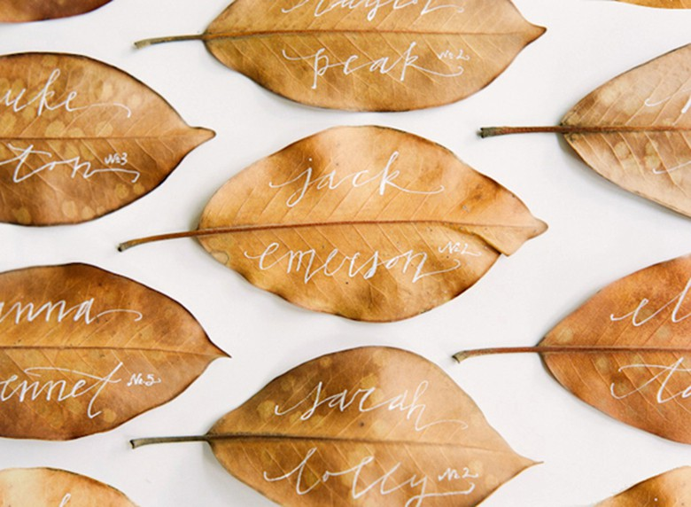 Magnolia Leaf place cards - 21 Winter Decor Suggestions That Do Not Scream Christmas_casartblog