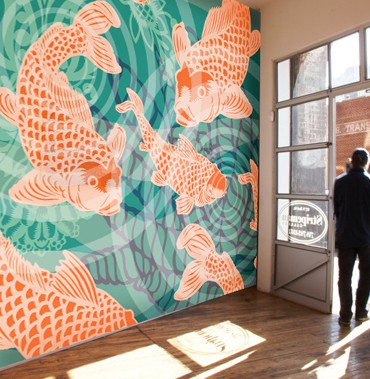 Koi fish Pond Mural installation POZdesigns_Casart Coverings removable wallpaper