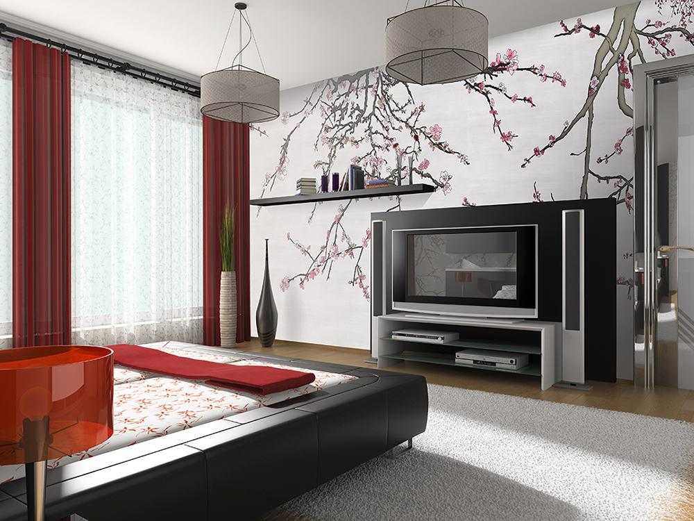 Casart Coverings Asia Blossom self-adhesive mural in modern bedroom_casartblog