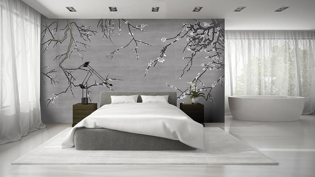 Modern Bedroom with Casart Covering removable Asia Blossom mural on casartblog