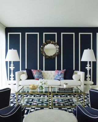 Dark Navy and WHite Room,